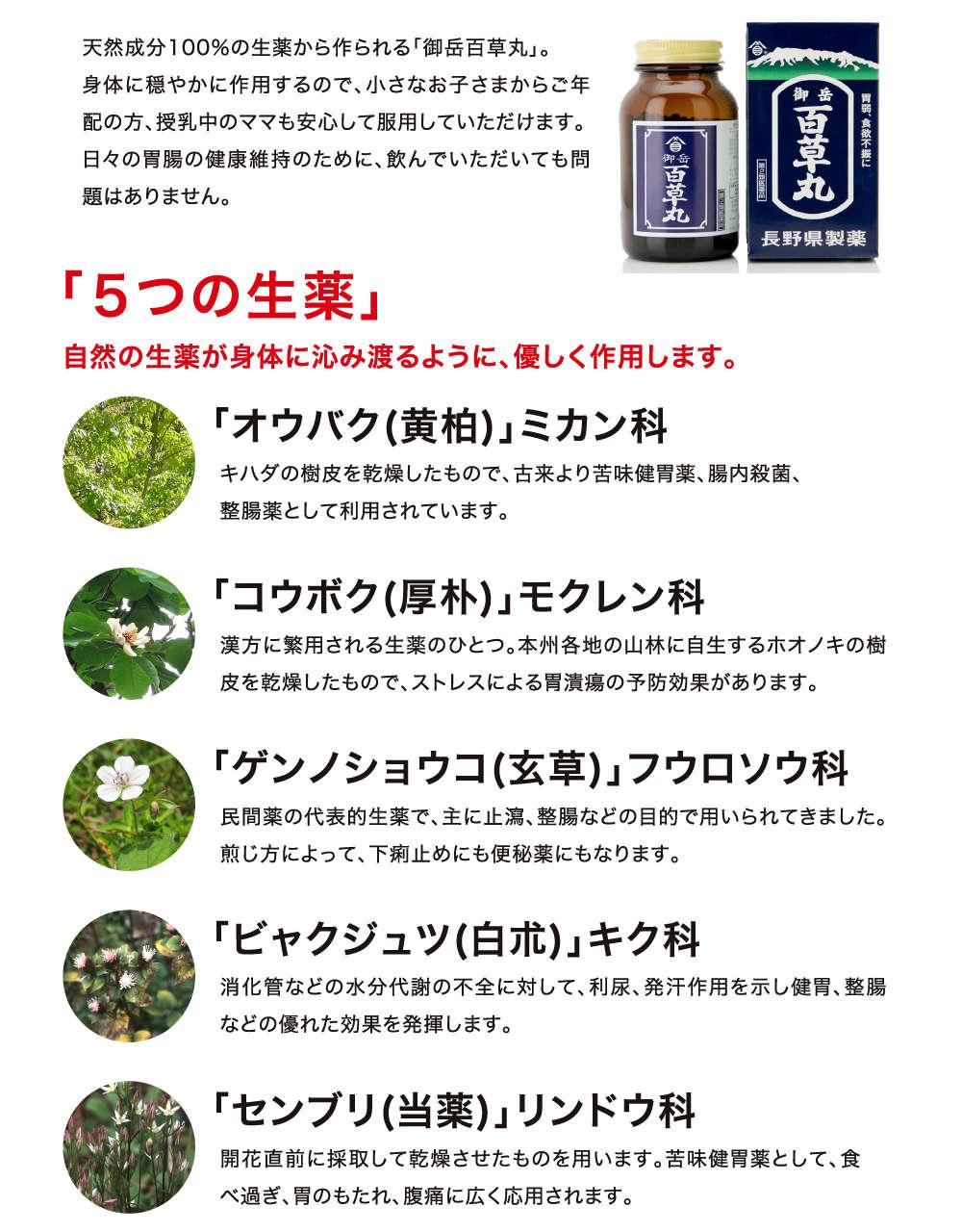 5つの生薬